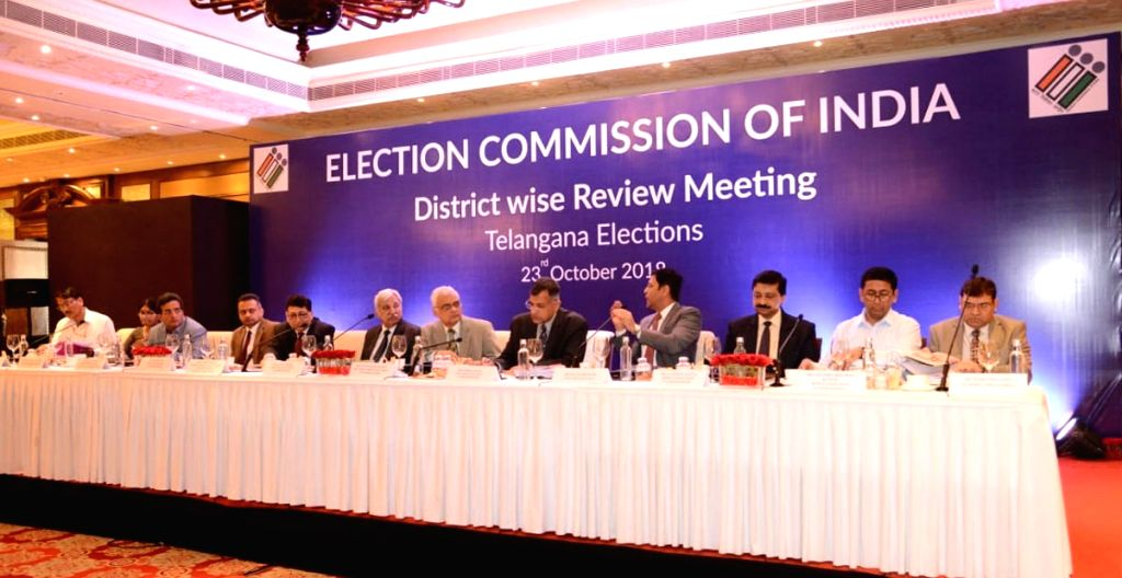 : Hyderabad: Chief Election Commissioner O.P. Rawat, Election Commissioners Sunil Arora and Ashok Lavasa and other dignitaries at the District wise review meeting, during their visit to Hyderabad ...