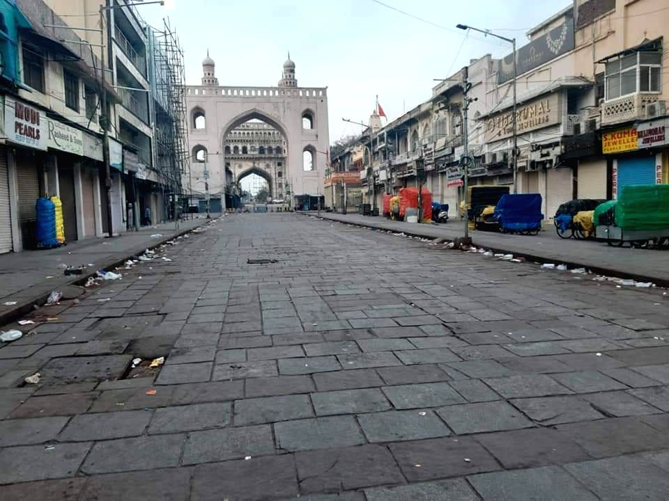Hyderabad City comes to a standstill during 'Janata Curfew' imposed to contain the spread of COVID-19 (coronavirus), on March 22, 2020.