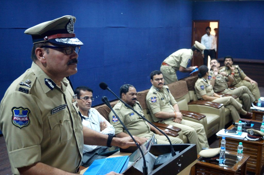 Hyderabad City Police Commissioner Anjani Kumar addresses a meeting regarding security arrangements ahead of Ganesh immersions and Muharram processions; in Hyderabad on Sept 18, 2018.