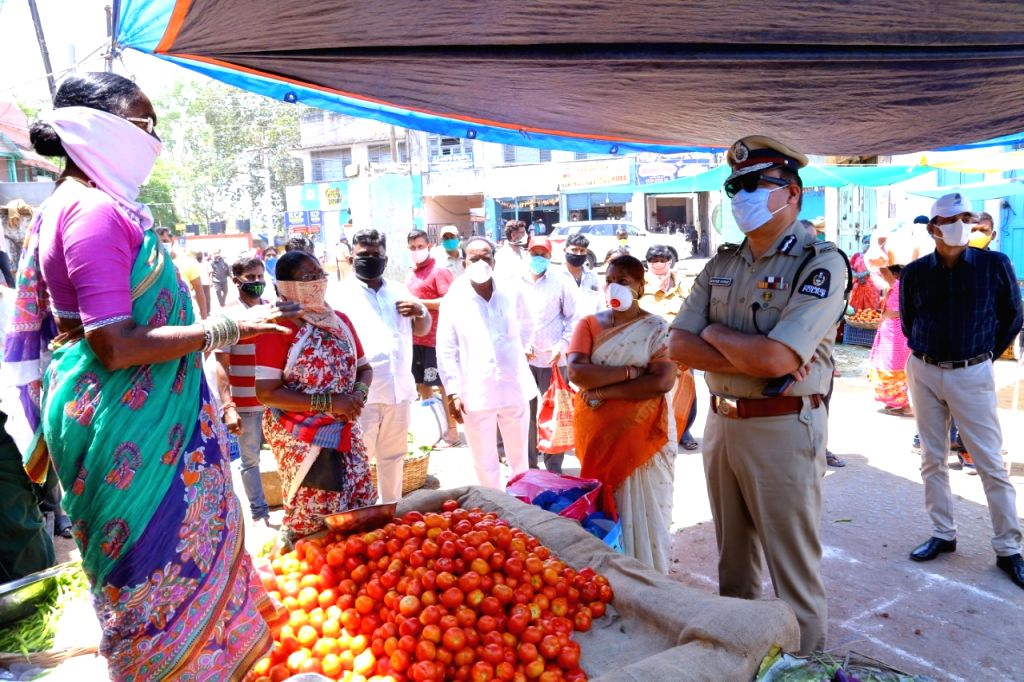 Hyderabad Commissioner of Police Anjani Kumar during his inspection visit to Hyderabad's Monda Market at Secunderabad during the extended nationwide lockdown imposed to mitigate the spread ... - Anjani Kumar