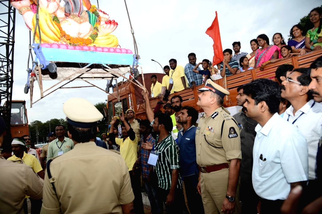 Hyderabad Commissioner of Police Anjani Kumar reviews arrangements for Ganesh immersion, in Hyderabad on Sep 6, 2019. - Anjani Kumar