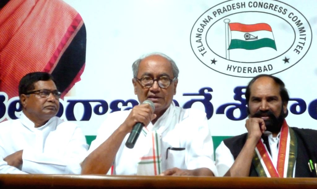 :Hyderabad: Congress General Secretary Digvijaya Singh addresses a press conference in Hyderabad, on March 3, 2017. (Photo: IANS).
