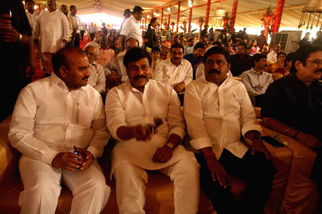 Congress MP and actor Chiranjeevi during INC leader Danam Nagender's daughter`s wedding ceremony in Hyderabad, on April 30, 2015. - Chiranjeevi