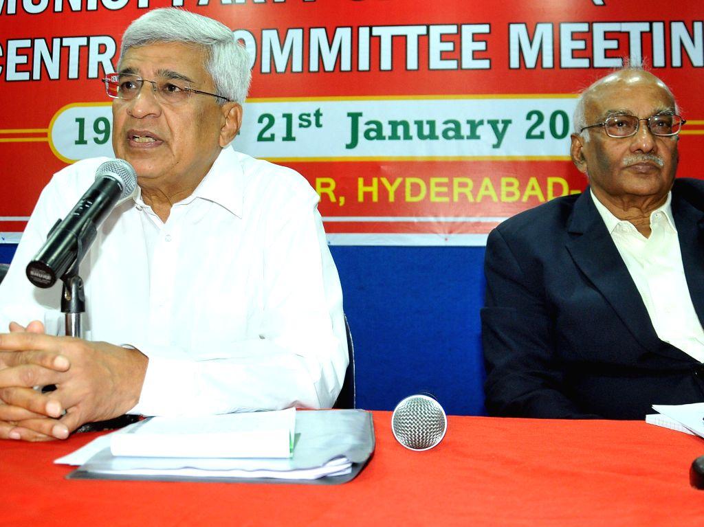 CPI(M) General Secretary Prakash Karat addresses a press conference in Hyderabad, on Jan 20, 2015.