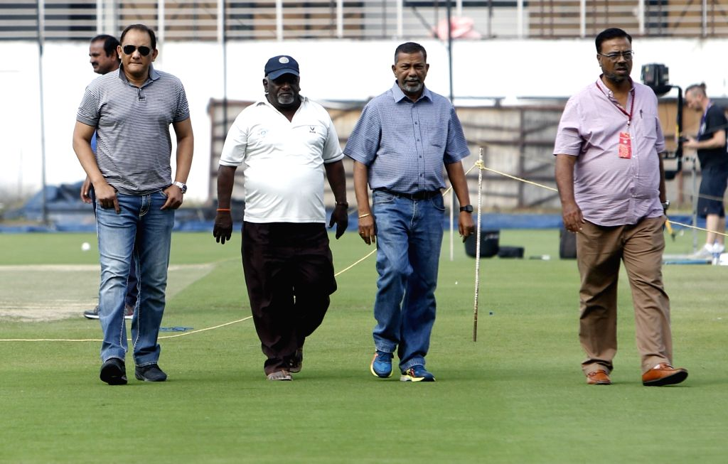 Hyderabad Cricket Association President Mohammad Azharuddin during a practice session ahead of the first Twenty20 match between India and West Indies at Rajiv Gandhi International Cricket ... - Azharuddin