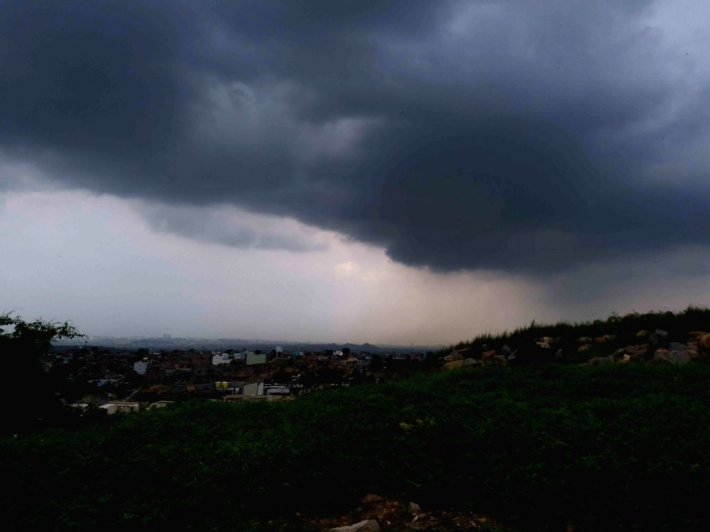 Hyderabad: Dark clouds hover over Hyderabad on an overcast sky, on Sep 30, 2019. (Photo: IANS)