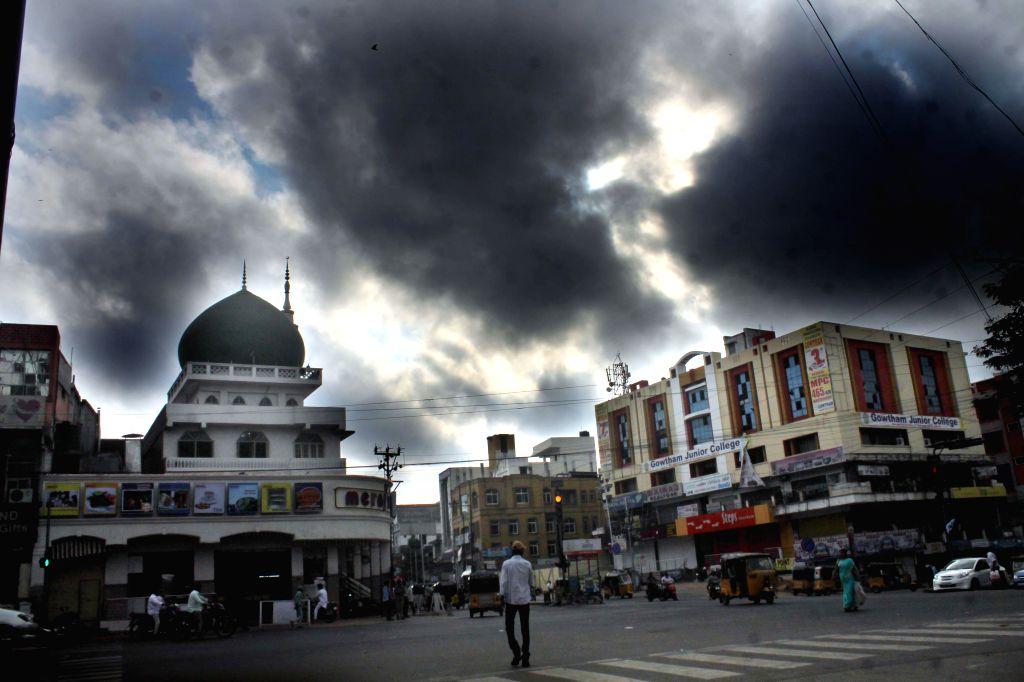 Dark clouds loom over Hyderabad on Jan 1, 2015.