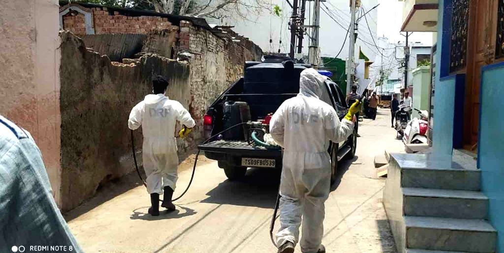 Hyderabad: Disinfectants being sprayed as part of a sanitisation drive being conducted across Hyderabad during the nationwide lockdown imposed as a precautionary measure to contain coronavirus, that has now been extended till May 3; on Apr 14, 2020.