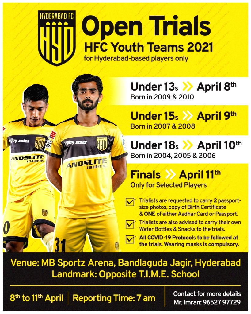 Hyderabad FC to conduct ???Open Trials??? for local players for Youth Teams.