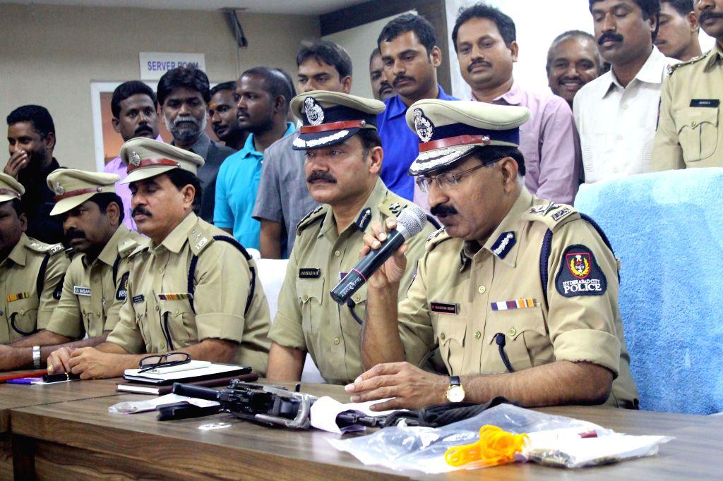 Hyderabad Police Commissioner Mahender Reddy during a press conference regarding firing on Aurobindo Pharma director at KBR Park, in Hyderabad on Nov 21, 2014.