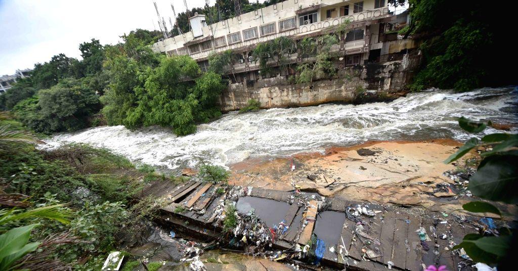 Hyderabad: Incessant rainfall in Hyderabad triggered a flood-like situation in many parts of the city on Saturday, September 26, 2020. (Photo: IANS)