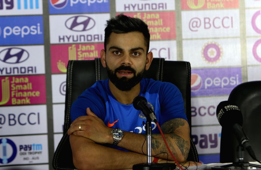 Hyderabad: India captain Virat Kohli addresses a press conference ahead of the first ODI match against Australia at Rajiv Gandhi International Stadium in Hyderabad on March 1, 2019. (Photo: Surjeet Yadav/IANS) - Virat Kohli and Surjeet Yadav
