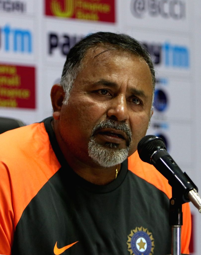:Hyderabad: India's bowling Bharath Arun addresses a press conference ahead of the second test match against West Indies at the Rajiv Gandhi International Cricket Stadium, in Hyderabad on Oct ...