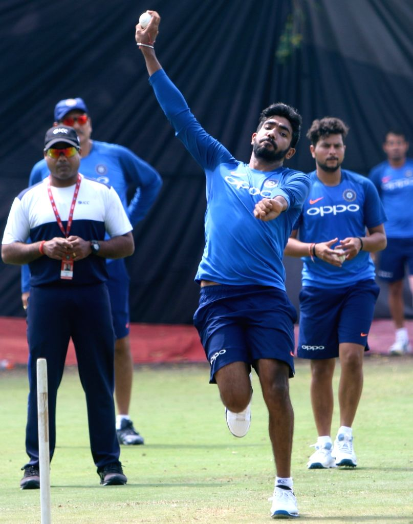 Hyderabad: India's Jasprit Bumrah in action during a practice session ahead of the first ODI match against Australia at Rajiv Gandhi International Stadium in Hyderabad on March 1, 2019. (Photo: Surjeet Yadav/IANS) - Surjeet Yadav