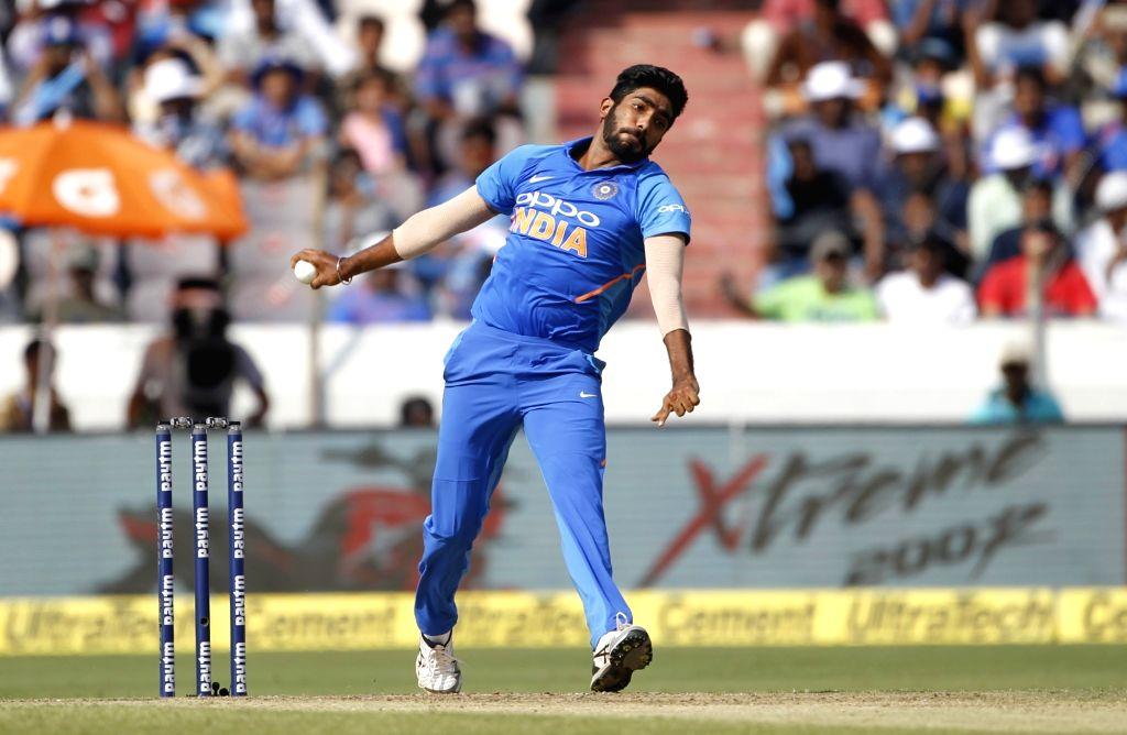 Hyderabad: India's Jasprit Bumrah in action during the first ODI match between India and Australia at Rajiv Gandhi International Stadium in Hyderabad on March 2, 2019. (Photo: Surjeet Yadav/IANS) - Surjeet Yadav
