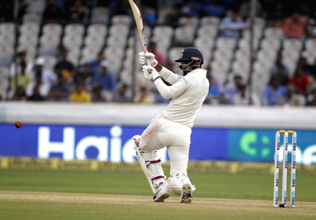 Hyderabad: India's Lokesh Rahul in action on Day 3 of the Second Test match between India and West Indies at Rajiv Gandhi International Stadium in Hyderabad on Oct 14, 2018. (Photo: Surjeet Yadav/IANS) - Lokesh Rahul and Surjeet Yadav