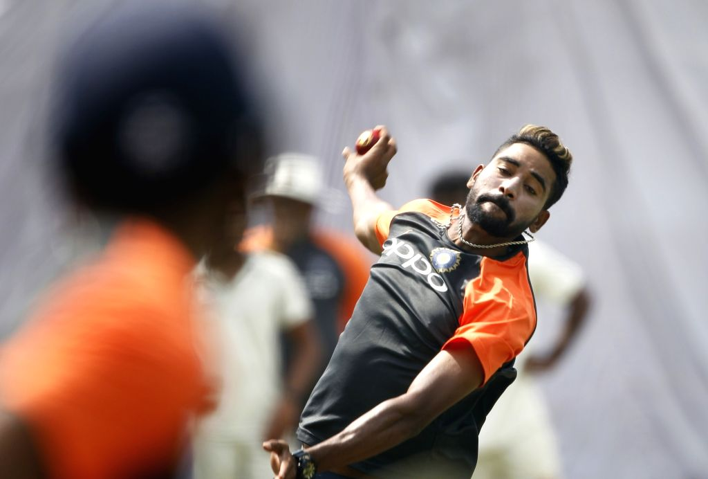 Hyderabad: India's Mohammed Siraj in action during a practice session ahead of the second test match against West Indies at the Rajiv Gandhi International Cricket Stadium, in Hyderabad on Oct 11, 2018. (Photo: Surjeet Yadav/IANS) - Surjeet Yadav