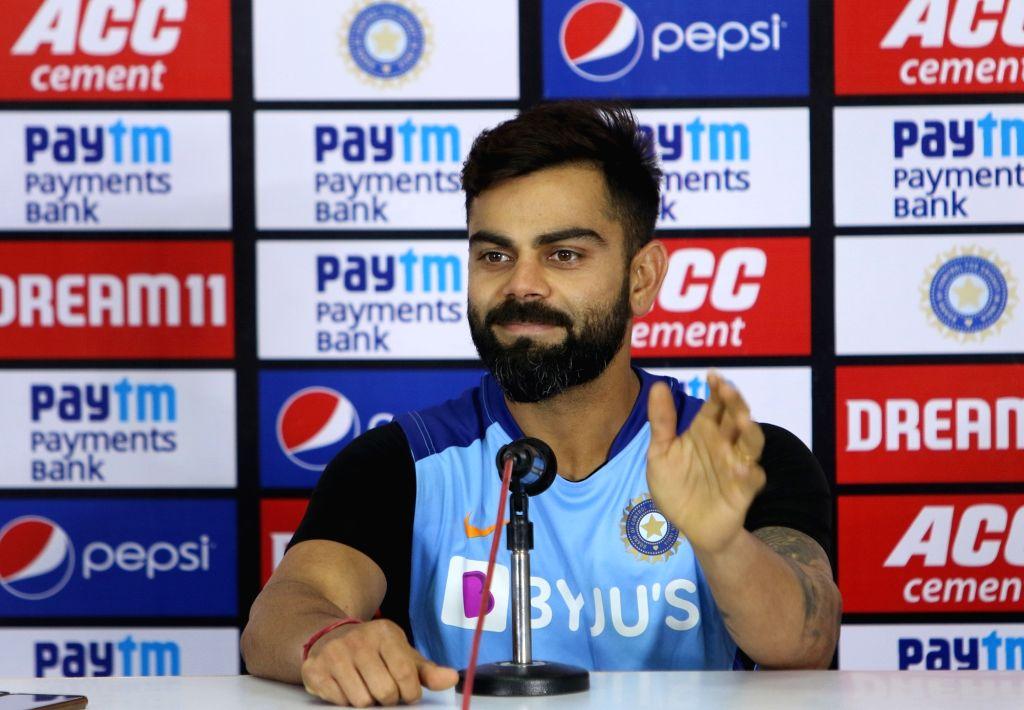 Hyderabad: Indian skipper Virat Kohli addresses a press conference ahead of the first Twenty20 match against West Indies at Rajiv Gandhi International Cricket Stadium in Hyderabad on Dec 5, 2019. (Photo: Surjeet Yadav/IANS) - Virat Kohli and Surjeet Yadav