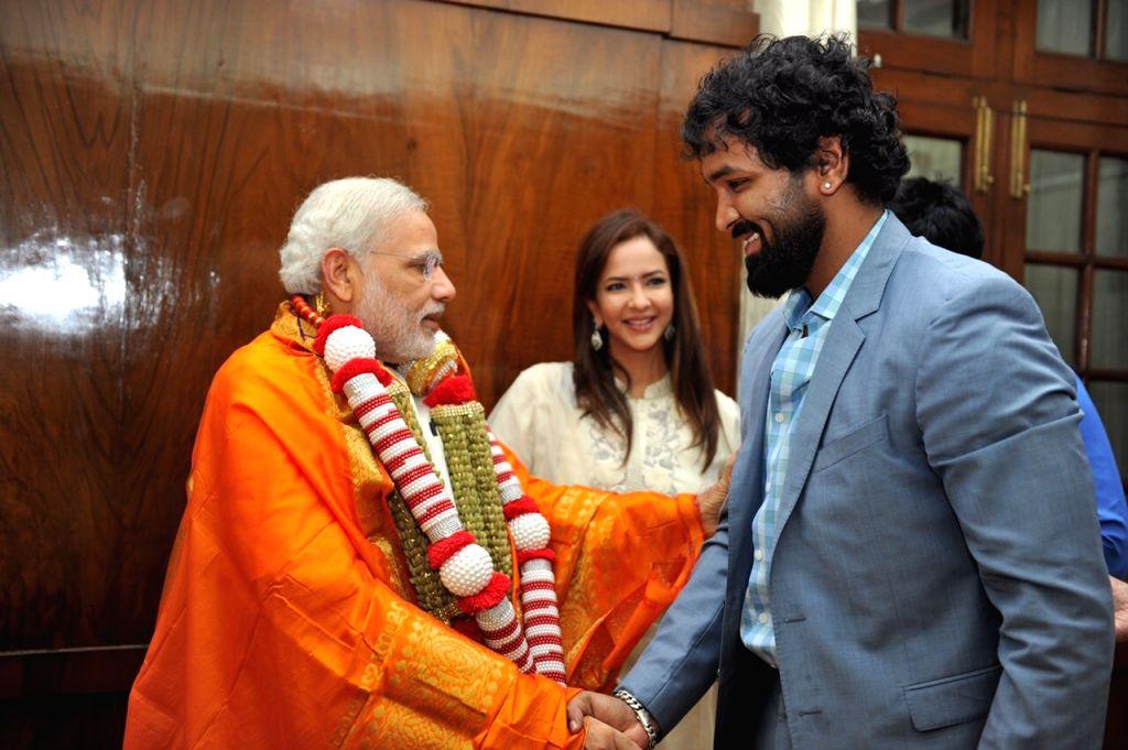 Manchu Mohan Babu`s family meets PM Modi.
