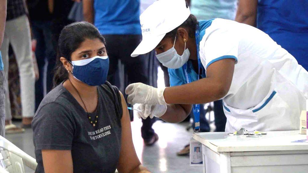 Hyderabad :  Mega Covid vaccination administration drive was inaugurated by Director of Public Health (DPH) Dr G Srinivasa Rao at Hitex Exhibition Ground, by Medicover Hospitals in Hyderabad on Sunday 06 June 2021.  (Photo: IANS) - G Srinivasa Rao