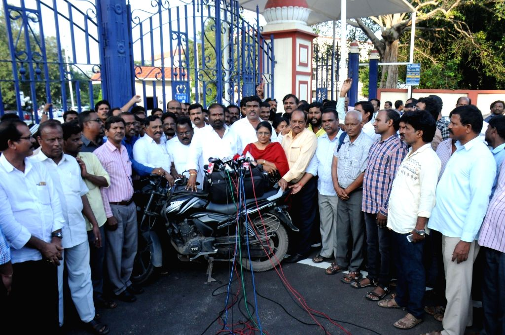 Hyderabad: Members of the Joint Action Committee of the Telangana State Road Transport Corporation (TSRTC) talk to the media after a hearing in the High Court on Public Interest Litigations (PILs), seeking directions to end the strike by TSRTC worker