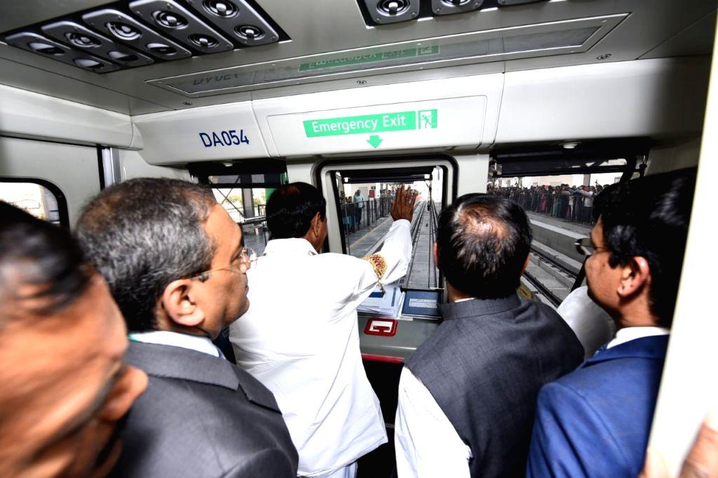 Hyderabad: Metro Rail Corridor-II (Green Corridor) between Jubilee Bus Station (JBS) and Mahatma Gandhi Bus Station (MGBS) will be inaugurated by Telangana Chief Minister K Chandrasekhar ... - K Chandrasekhar Rao and Gandhi Bus Station