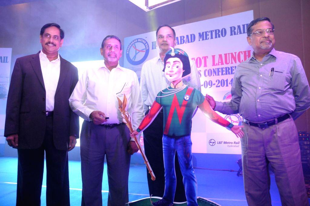 Hyderabad Metro Rail Ltd MD NVS Reddy, Telangana Chief Secretary Dr. Rajeev Sharma, Principal Secretary of Telangana Municipal Administration Urban Development Dr. S.K.Joshi and L&T Metro Rail MD - Rajeev Sharma