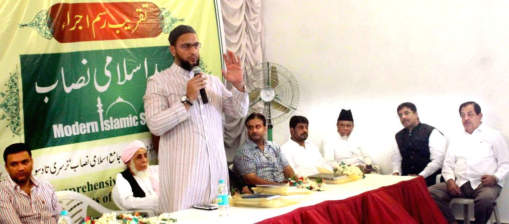 MIM chief Asaduddin Owaisi addresses during a programme organised in Hyderabad on June 6, 2015.