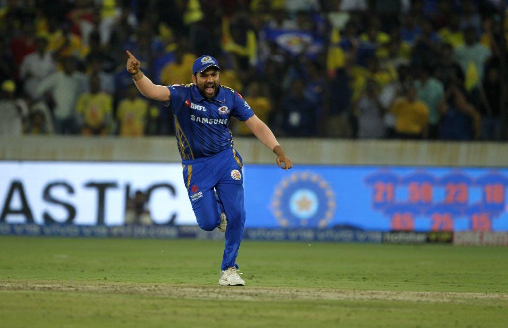 Hyderabad: Mumbai Indians' skipper Rohit Sharma celebrates after winning the Final match of IPL 2019 against Chennai Super Kings at Rajiv Gandhi International Stadium in Hyderabad, on May 12, 2019. Mumbai Indians won by 1 run. (Photo: Surjeet Yadav/I - Rohit Sharma and Surjeet Yadav