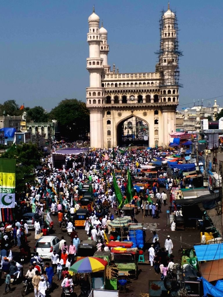 Hyderabad: Muslim devotees participate in a religious procession on the occasion of Eid Milad-un-Nabi, the birth anniversary of Prophet Muhammad - the founder of Islam, in Hyderabad on Nov 10, 2019. (Photo: IANS)