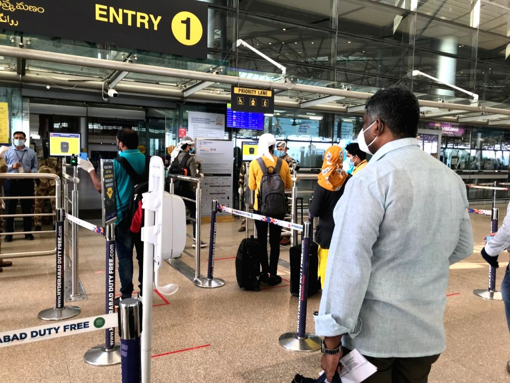 Hyderabad: Passengers arrive at the Rajiv Gandhi International Airport in Hyderabad after India resumed civil passenger flight services on Monday, exactly two-months after it had suspended these operations due to the outbreak of Covid-19, on May 25,
