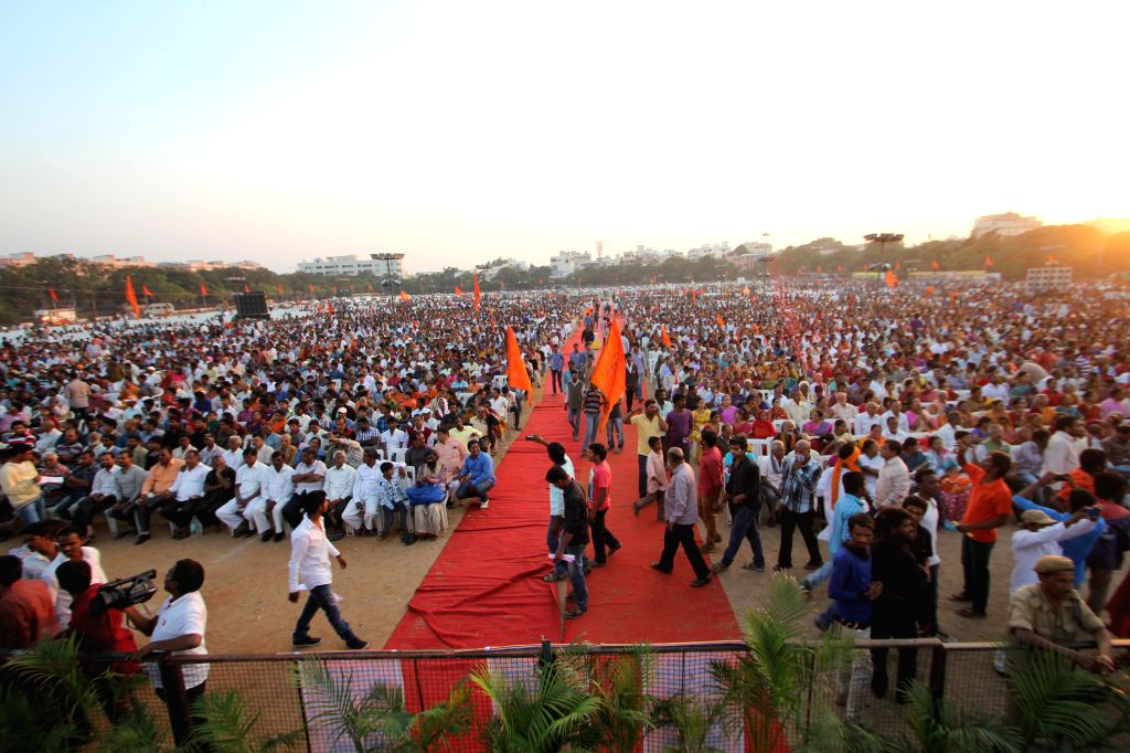 People in large number participate in a VHP public meeting at NTR Stadium in Hyderabad, on Dec 28, 2014.