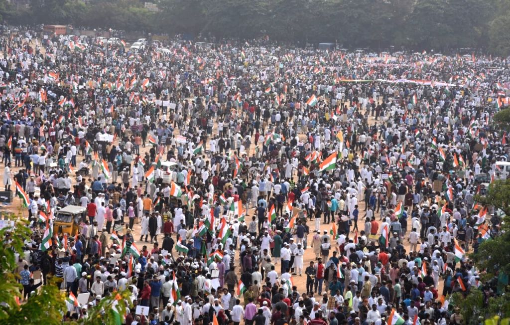 Hyderabad: People participate in a mammoth protest rally against the Citizenship Amendment Act (CAA) 2019, National Register of Citizens (NRC) and National Population Register (NPR) in Hyderabad on Jan 4, 2020. (Photo: IANS)