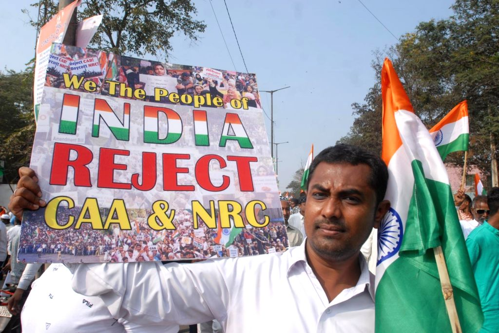 Hyderabad: People participate in Tiranga rally to protest against the Citizenship Amendment Act (CAA) in Hyderabad on Jan 10, 2020. (Photo: IANS)