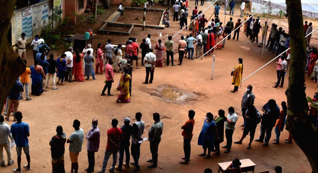Hyderabad :  People stand in a queue at  Govt. High school Musheerabad  to receive Covid 19 vaccine  in Hyderabad on Friday 11 June 2021.
