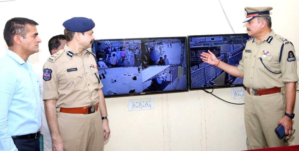 Hyderabad Police Commissioner Anjani Kumar reviews security arrangements at Mecca Masjid ahead of Ramadan, in Hyderabad on April 26, 2019.