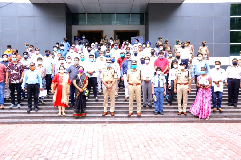 Hyderabad Police Commissioner Anjani Kumar at the launch of ???WeCop??? programme at National Institute of Nutrition in Hyderabad on July 14, 2020.