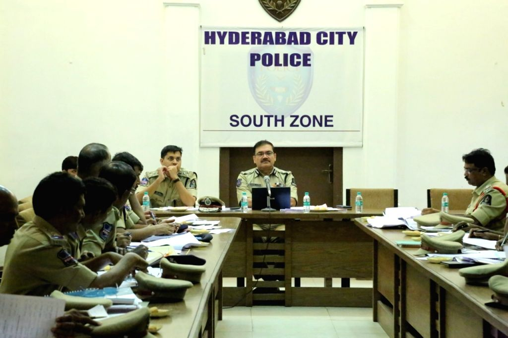 Hyderabad Police Commissioner Anjani Kumar chairs a meeting with South Zone personnel in Hyderabad on Oct 25, 2019.
