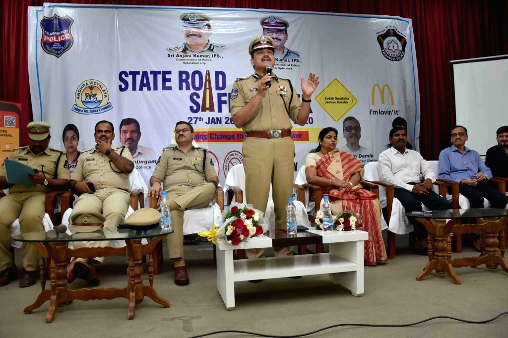 Hyderabad Police Commissioner Anjani Kumari during a traffic awareness programme and exhibition on Road safety, in Hyderabad on Jan 29, 2020.