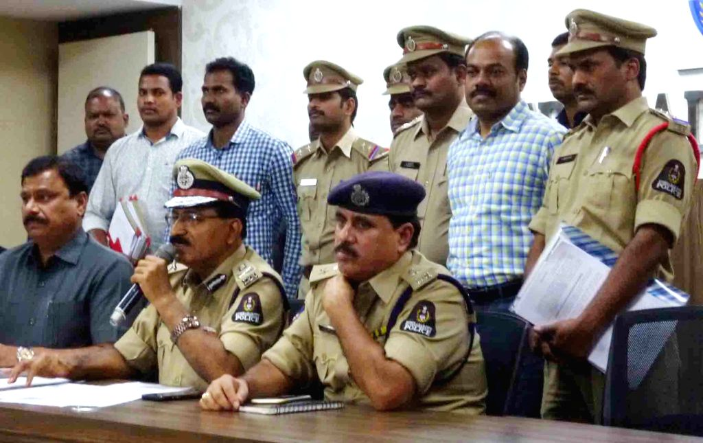 Hyderabad Police Commissioner Mahender Reddy addresses a press conference in Hyderabad, on June 16, 2017.