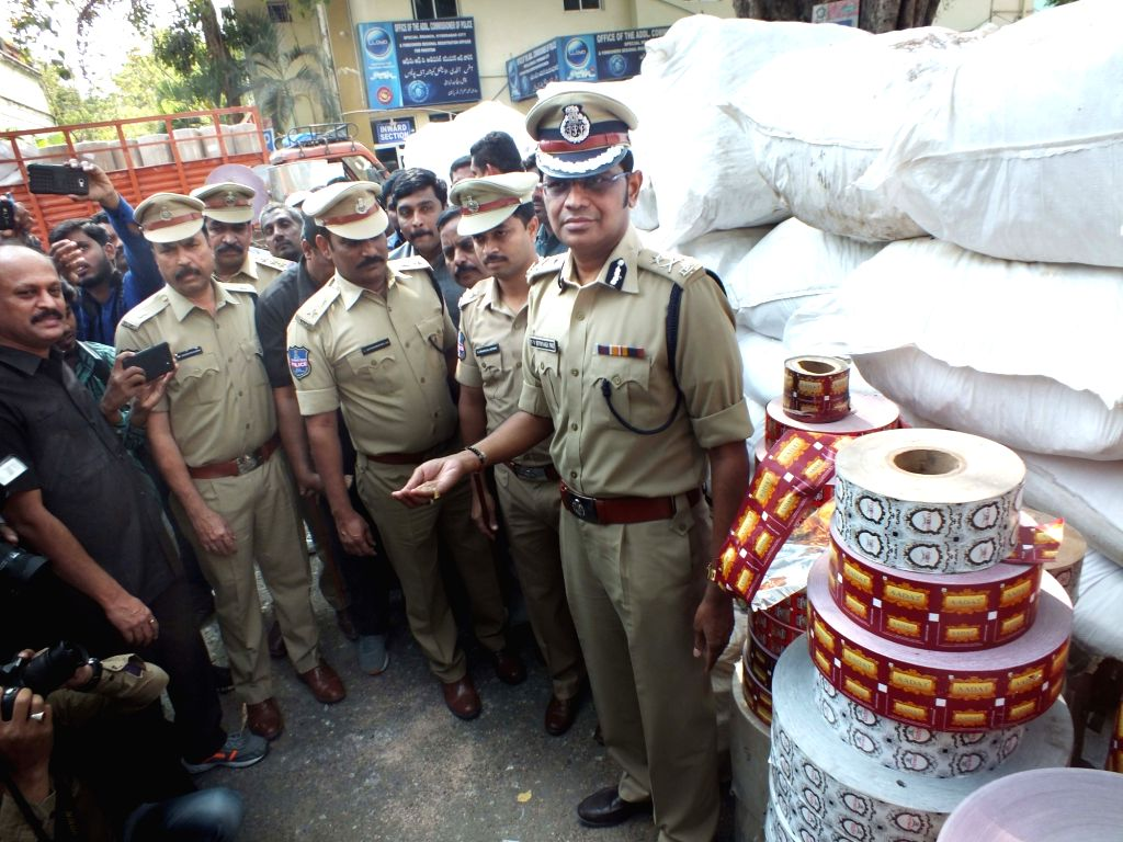 Hyderabad Police Commissioner V V Srinivasa Rao during raids conducted at tobacco manufacturing and packing units at Chandrayan Gutta in Hyderabad on Jan 18, 2018.