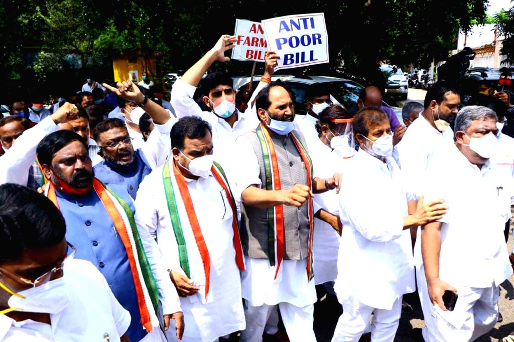 Hyderabad police detained leaders of the opposition Congress party marching towards Raj Bhavan as part of the protest over the newly enacted Farm Laws, in Hyderabad on Sep 28, 2020. Led by ... - K. Chandrasekhar Rao and N. Uttam Kumar