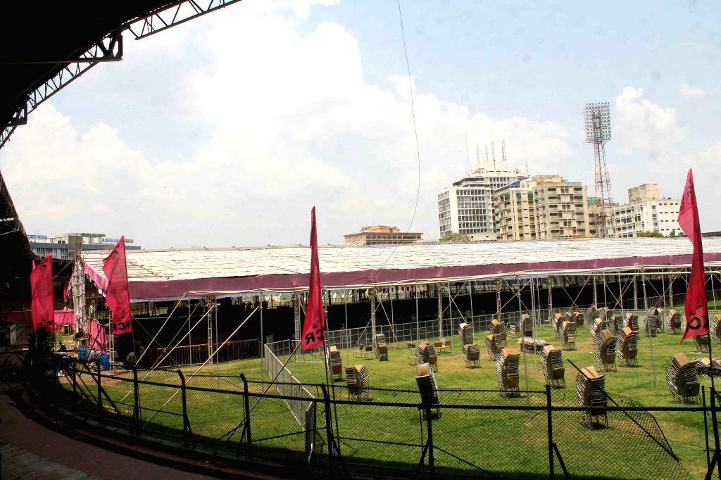 Preparations for TRS upcoming rally underway at Lal Bahadur Shastri Stadium in Hyderabad, on April 23, 2015.