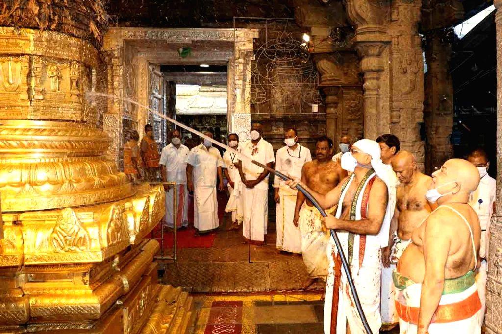 Hyderabad : Priests perform traditional cleansing fete koil Alwar Tirumanjanam at Tirumala on Tuesday October 05 2021.