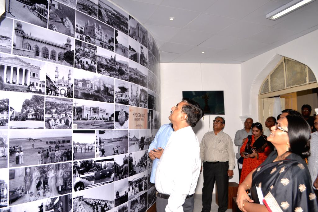 Principal Secretary, planning B P Acharya during the inaugurate of historical heritage monuments photo exhibition on the occasion of World Heritage Day in Hyderabad, on April 18, 2015.