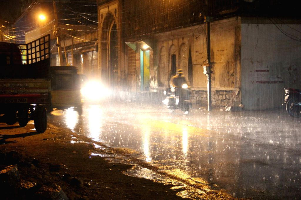 Rains in Hyderabad on April 6, 2015.