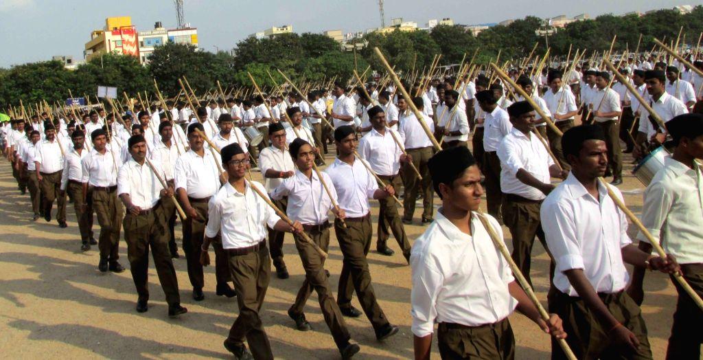 Hyderabad: Rashtriya Swayamsevak Sangh (RSS) activists participates in a Path Sanchalan march in Hyderabad on Sept 24, 2017. (Photo: IANS)