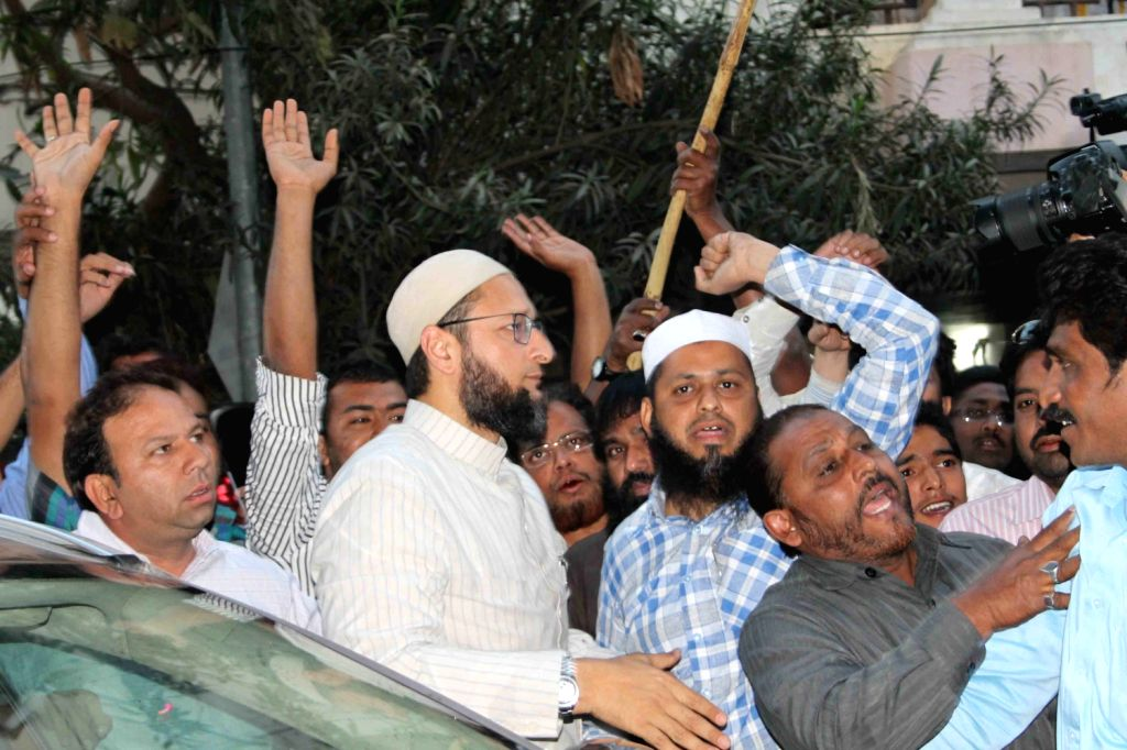 Rousing welcome given by supporters to MIM president and Hyderabad MP Asaduddin Owaisi as he was released on bail from the Sangareddy jail in Medak district on Jan 24, three days after his