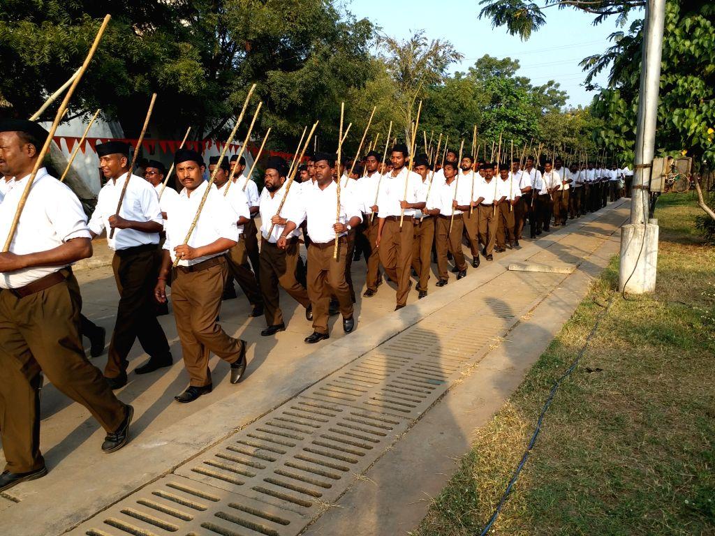Hyderabad: RSS volunteers participate in 'Path-Sanchalan' march in Hyderabad, on Dec 25, 2019. (Photo: IANS)