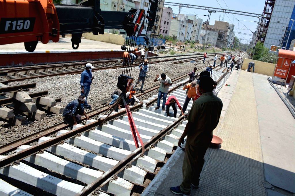 Hyderabad : SCR Railway Track Replacement Works going at Khairathabad Railway Station during Luckdwon period on Saturday  in Hyderabad 22 May 2021.